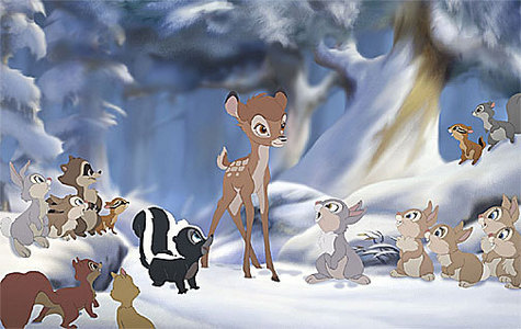 Scenes in Bambi of the forest fire and animals is unused footage from...