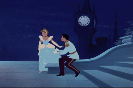 According to the bell tower in Cinderella, what time does the royal ball start?