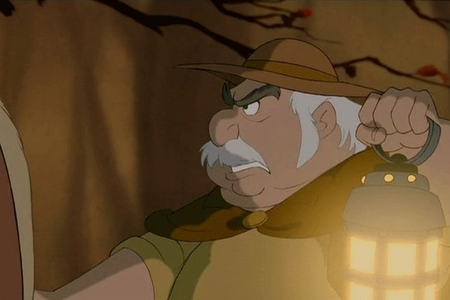 In Beauty and the Beast, while Belle's father is traveling through the forest with his invention he comes across a sign pointing to two cities. What are their names?