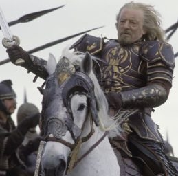 What was the name of the father of King Theoden's horse, Snowmane?