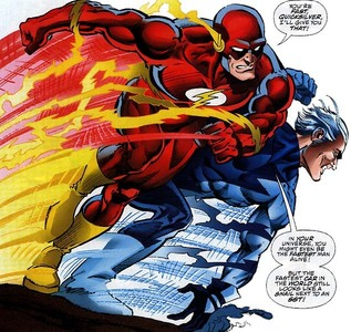 Which character won in the pre-written battle between Quicksilver and Flash?