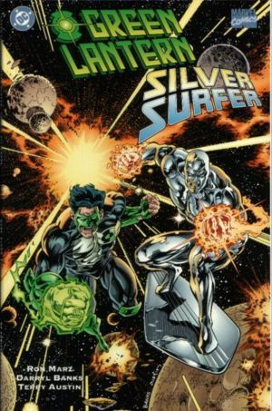 Which character won in the pre-written battle between Green Lantern and Silver Surfer?