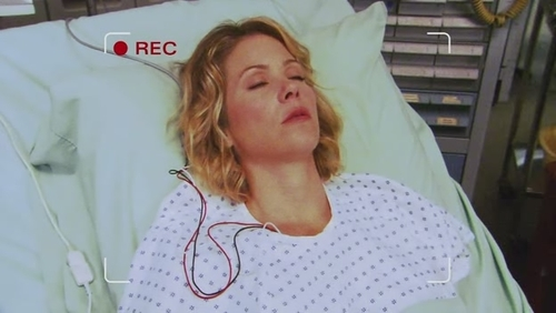 What are Samantha's first words when she wakes up from her coma?
