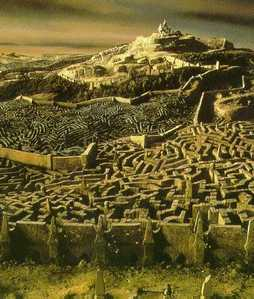 What does Sarah say about the labyrinth when Jareth asks if she's been enjoying it?