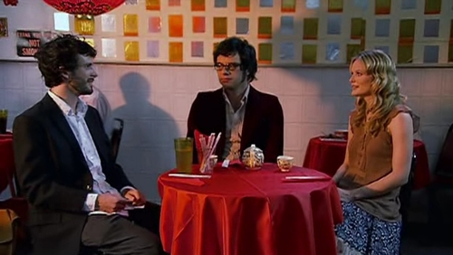What did Bret, Jemaine and Sally order at the first restuarant?