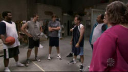 "In the episode ""Basketball"" who is covering Roy early in the game?"