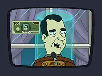 In 'Three Hundred Big Boys,' President Nixon decides to give all taxpayers 300 dollars. In what form is the money in?
