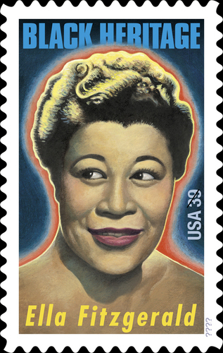 When was Ella's postage stamp released?