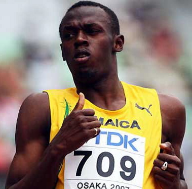 In the Beijing Olympics 2008 100m final, what was his time? ( not rounded up)