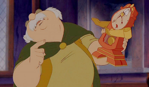What is NOT one of the things Maurice does to Cogsworth while trying to figure out how he can be speaking?