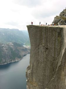 From Preikestolen (The Pulpit Rock) you look down on: