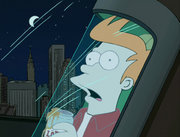 In Space Pilot 3000, what does Fry actually do when he tries to fly the Planet Express ship?