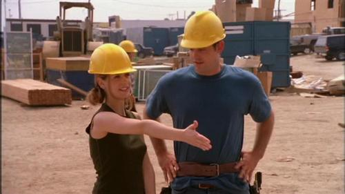 "What is the name of the guy that Xander claims to have ""hit it off with"" at his construction job?"
