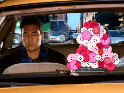 Who's in the taxi with Ted?
