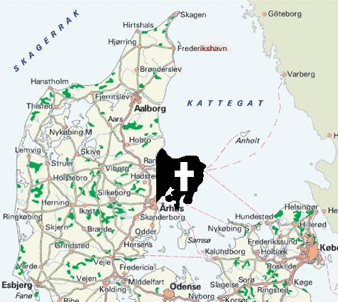 Why did people spread this map with a kreuz over Djursland?
