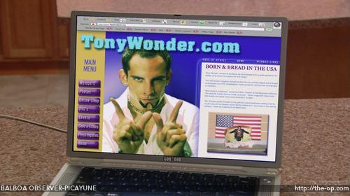 Many claim Tony Wonder's web site suffered due to its pop-up ads. Pop-ups from which show appeared on the screen?