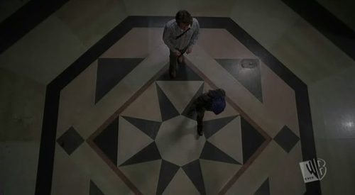 below we see a scene from shells where illyria opens the portal to her army but in which episode have we seen this lobby before?