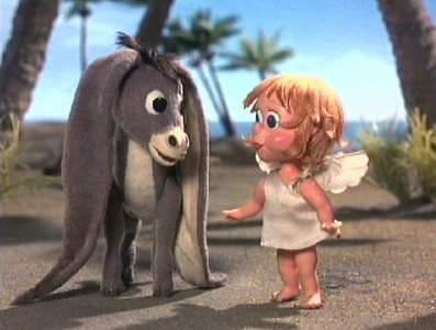 This is the long-eared donkey from the 圣诞节 动画片 movie. What is the donkey's name?