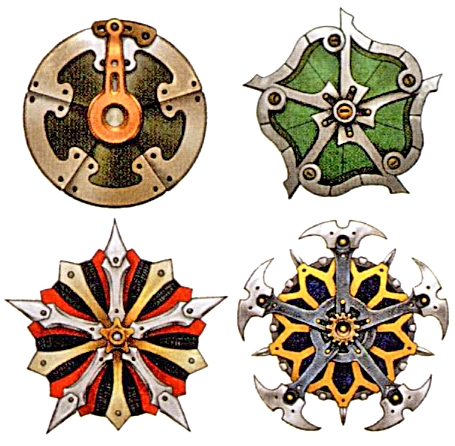 Which FFX character is defending her/himself with these shields?