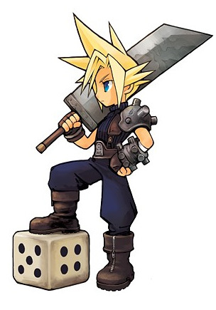 What colour was Cloud's dress when he pretended to be a woman in FFVII?