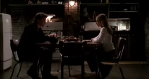 "In this conversation in ""I Will Remember You"" what does Buffy sarcastically tell Angel to pull up for her?"