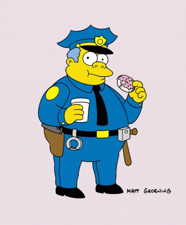 Where on Chief Wiggum's badge does it say anything about protecting people?