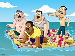 In 'Perfect Castaway,' after Peter, Quagmire, Cleveland and Joe are rescued off a desert island by a cruise ship, what actor does Cleveland shoot?