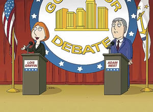 When Lois is running for mayor against Adam West, how does she answer nearly every pregunta in the debate?
