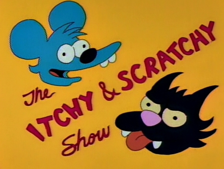 What is on the Itchy and Scratchy অ্যানিমেশন cell that Bart buys from the Impulse Buying Network?