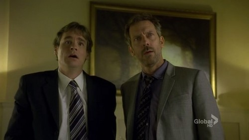 What did House say after Wilson smashed the bottle through the stained glass window?