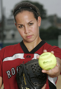 What university did Cat Osterman attend and play softball for?