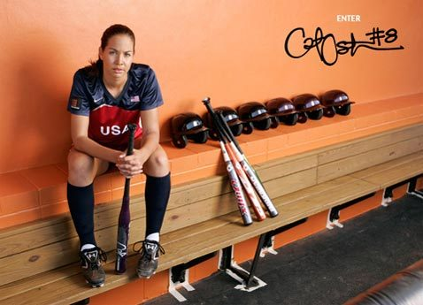 What softball equipment company does Cat Osterman have a line with?