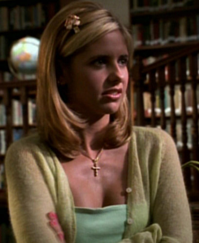"""In """"School Hard,"""" when Willow and Buffy are studying, what does Buffy accidentally say in French?"""