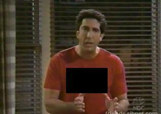 What does Ross`s shirt say here?