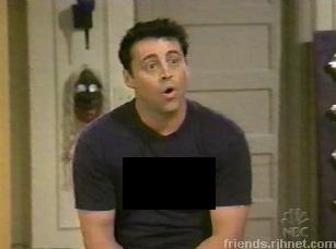 What does Joey`s shirt say here?
