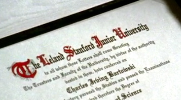 What did Chuck earn his degree from Stanford in (Chuck vs. Tom Sawyer)?
