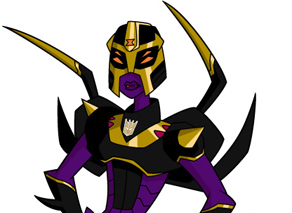 Who left Blackarachnia behind in a cave full of Giant Spiders?