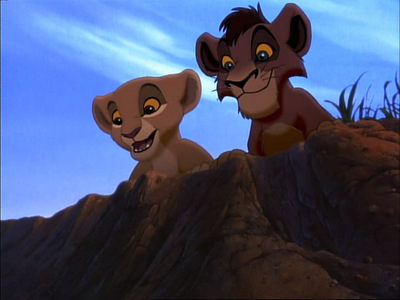 After Kovu and Kiara first met, they find themselves in what kind of trouble?