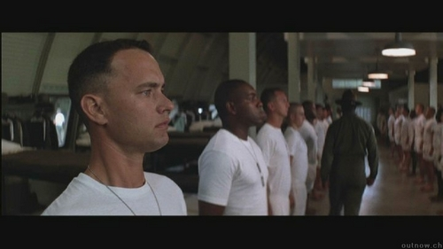 Complete: Drill Sergeant 'God damn it, Gump! You're a god damn genius!...You must have a goddamn I.Q. of ___________'