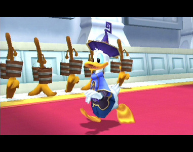 In Kingdom Hearts,in the trono room,from which side is Donald's statue?