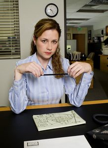 Pam helped who get a piece of tape untangled from their hair?