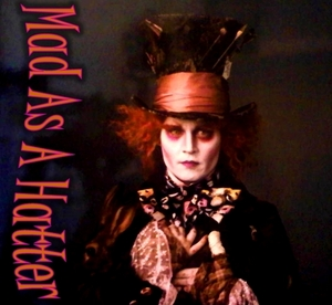 Johnny depp in his role of the mad hatter