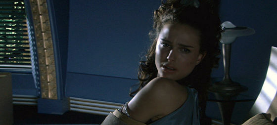 Padmé wakes to realize Anakin isn't in bed with her.she goes off to find him.