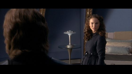 Concered and confused by her husband's behavior Padmé questions him about it