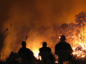 Firemen trying to control the Victorian bushfires this weekend