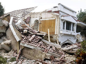 A destroyed building near the Hotel villa Creole in Port-au-Prince.