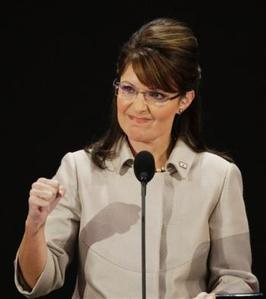 In this Sept. 3, 2008 file photo, Republican vice presidential candidate, Alaska Gov. Sarah Palin, pumps her fist during her speech at the Republican National Convention in St. Paul, Minn. (AP Photo/Ron Edmonds, file)