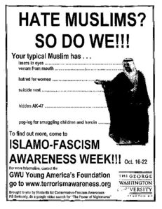 "An add mocking ""Islamo-Fascism Awareness Week"" at Georg Mason University, 2007"