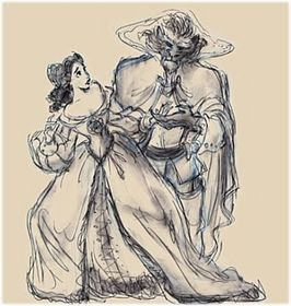 Early concept art of Belle and the Beast