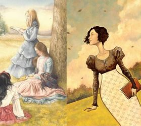 Illustrations from 'Little Women' &amp; 'Pride and Prejudice'
